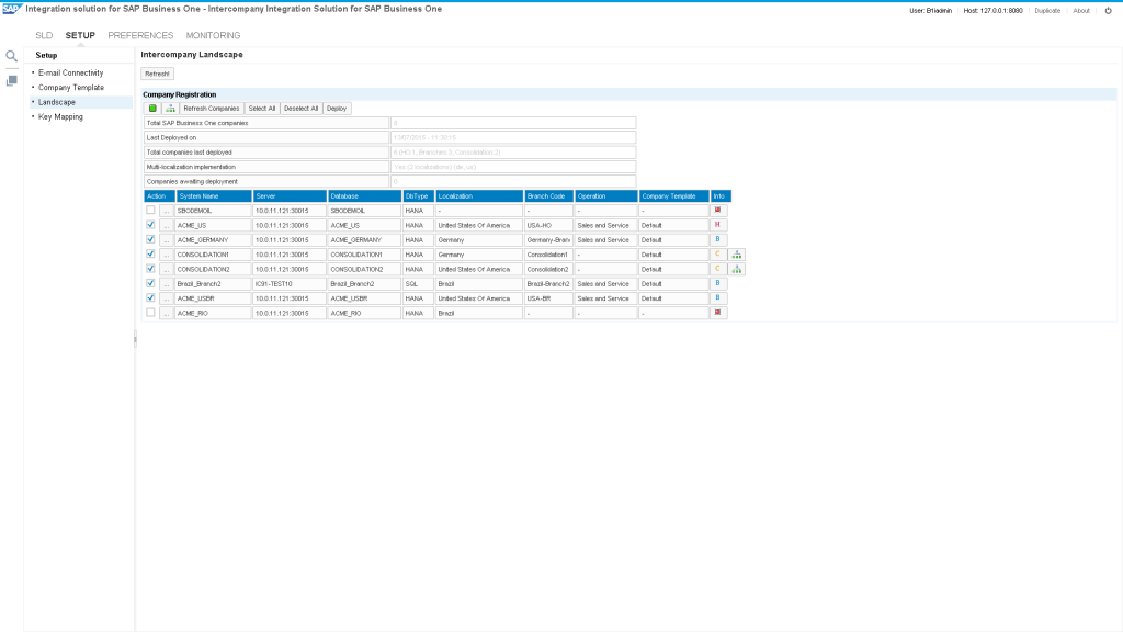 Intercompany Administration Console