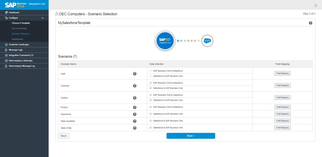 Salesforce Scenario Selection