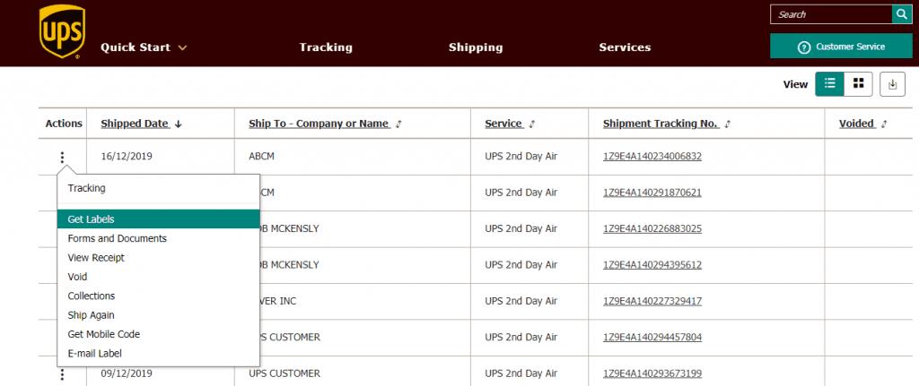 UPS Print Labels